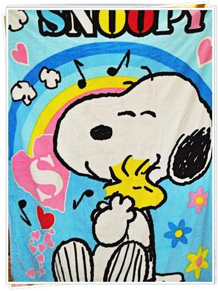 ผ้าห่มกำมะหยี่ เนื้อนุ่ม 5 ฟุต ลาย Snoopy สีฟ้า S001
