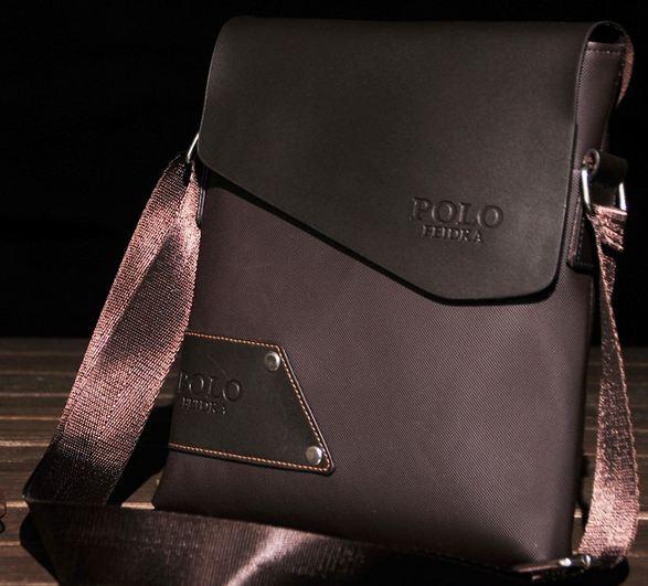 กระเป๋าสะพายข้าง ผู้ชาย ผ้าไนลอน ผสมหนังแท้ สไตล์ วัยรุ่น กระเป๋า Polo สะพายข้าง ใส่กระเป๋าสตางค์ สีดำ และ สีน้ำตาล ดีไซน์ สวย 96543