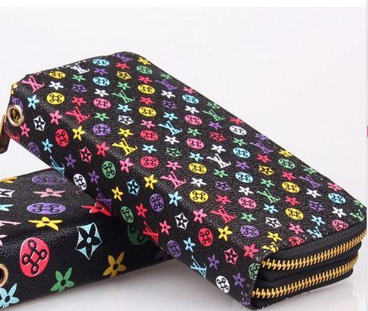 กระเป๋าสตางค์ Lv กระเป๋าสตางค์ผู้หญิง ใบยาว หนัง Pu กันน้ำ ซิปรอบ 2 ช่อง สีดำ no 780759