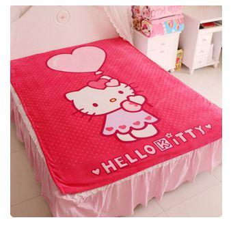 ผ้าห่มกำมะหยี่ เนื้อนุ่ม Hello Kitty สีแดง