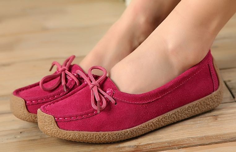 รองเท้าผู้หญิง หุ้มส้น ส้นแบน รองเท้าหนังแท้ ผู้หญิง รองเท้าคัทชู ใส่สบาย ดีไซน์ หนังแท้ มีเชือกผูก ใส่ทำงาน ใส่เที่ยว สีชมพู กุหลาบ no 40782
