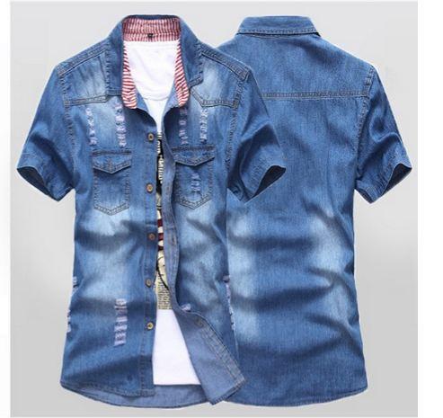 เสื้อ Jacket ยีนส์ แจ็คเก็ตยีนส์ ผู้ชาย แขนสั้น สียีนส์ เข้ม แบบ Slim fit ตัวยาว ยีนส์ฟอก ดีไซน์สวย แบบเท่ เสื้อยีนส์คอปก มีกระเป๋าหน้า 212166