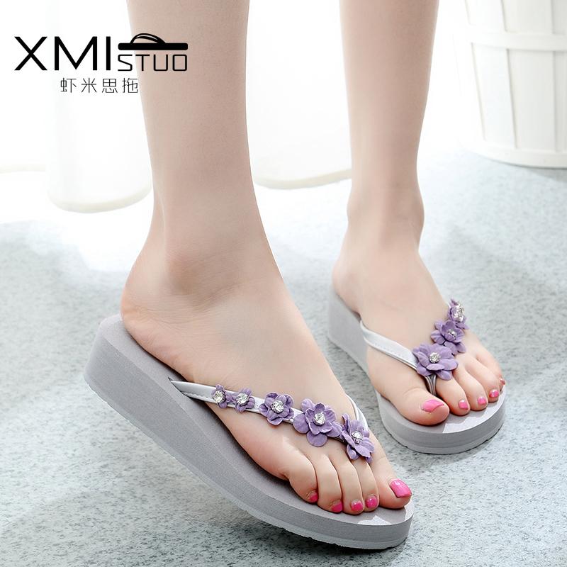 รองเท้าแฟชั่น รองเท้าแตะ รองเท้ามัฟฟิน Slippers female cake with a shaped outer wear high-heeled sandals wild