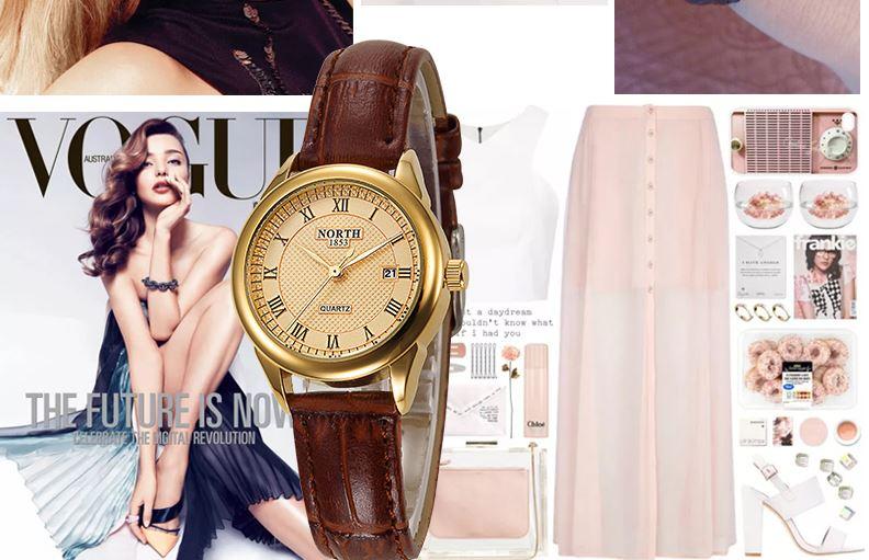 นาฬิกาข้อมือผู้หญิง สายหนังแท้ หน้าปัดกลม รุ่นคลาสสิค นาฬิกา north หน้าปัดดำ ขาว สายหนังสีดำ สีน้ำตาล 794841