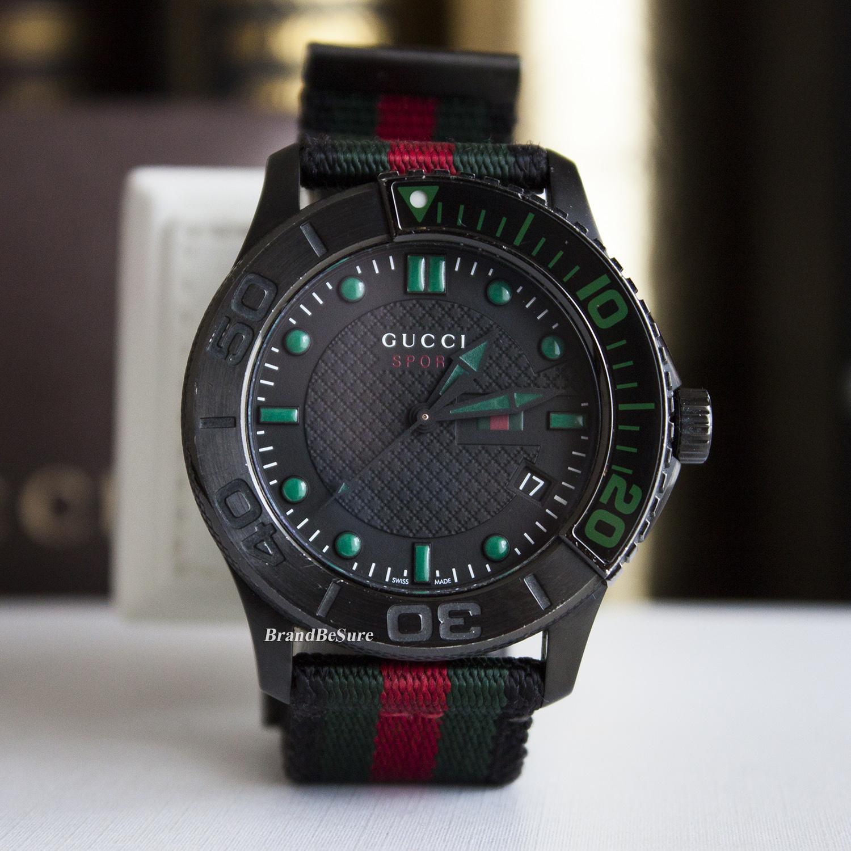 ad3be98e9bc Gucci Black Dial G-Timeless Classic Web Men s Watch YA126229 (ใบไทย 2016)