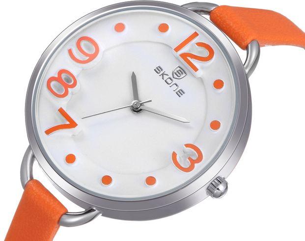 นาฬิกาข้อมือ ผู้หญิง นาฬิกา แฟชั่น เก๋ ๆ เปรี้ยว จี๊ดจ้าด จาก Skone สายหนัง สีสันสดใส หน้าปัด ใหญ่ กลม มีดีไซน์ สไตล์วันรุ่น ระบบ Qaurtz Japan 958233