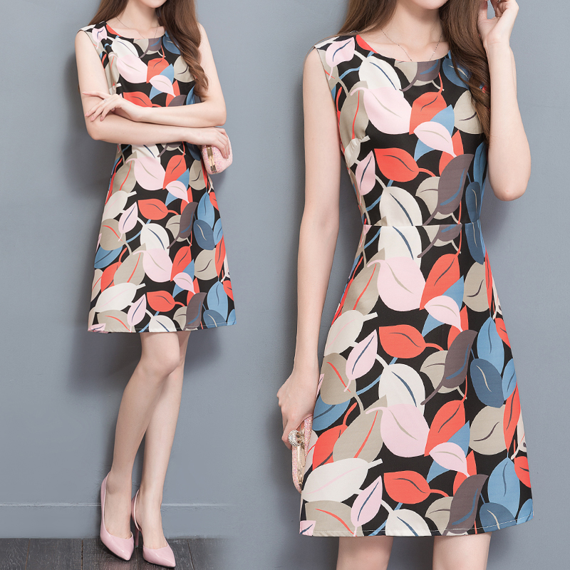 **สินค้าหมด Dress4045 ชุดเดรสทรงสวยลายใบไม้ ซิปหลังใส่ง่าย ผ้าโพลีเนื้อดีนุ่มใส่สบาย งานสวยใส่ง่ายน่ารักมาก
