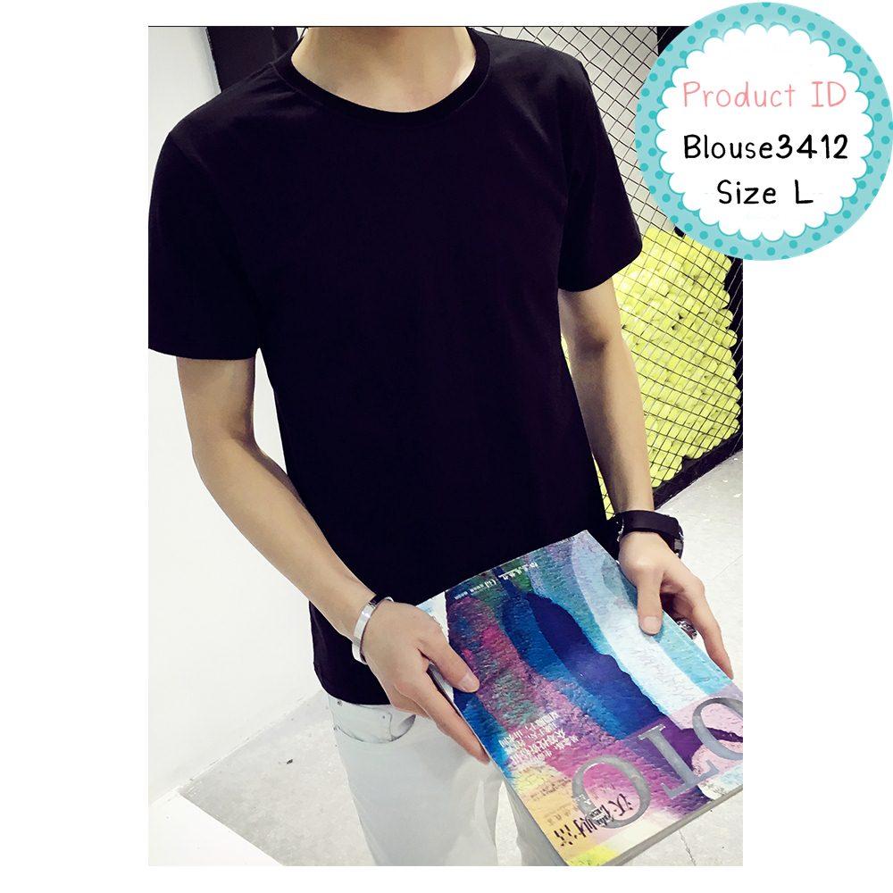 blouse3412 เสื้อยืดสีดำผ้า Cotton แขนสั้น ผ้าเนื้อดีนิ่มใส่สบาย Size L