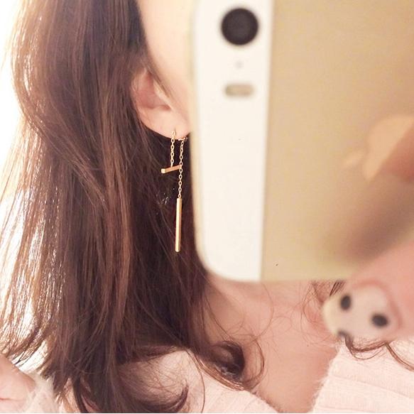 ต่างหู,ตุ้มหูแฟชั่นสไตล์เกาหลีท่อนเหลี่ยมสีทอง
