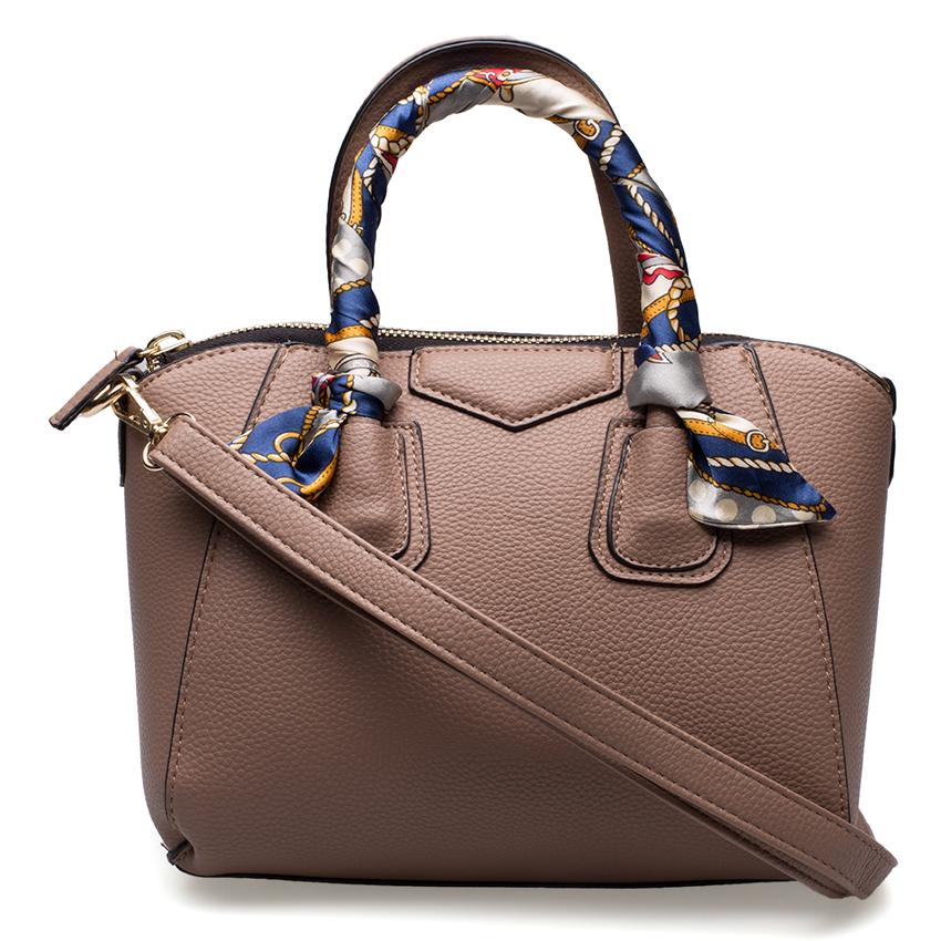 กระเป๋าสะพาย สีน้ำตาลกะปิ ดีไซน์เก๋ ผูกผ้าพันหู