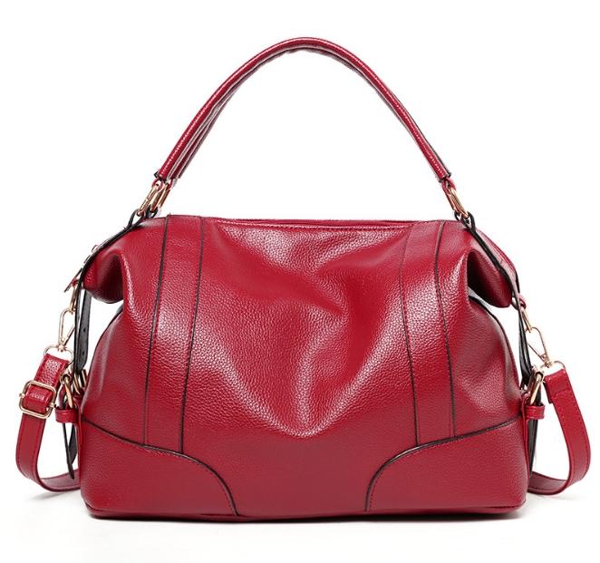 [ พร้อมส่ง ] - กระเป๋าถือ/สะพาย สีแดงเข้ม ทรงหมอน ดีไซน์สวยเก๋เท่ๆ ดูดี งานหนังสวยค่ะ