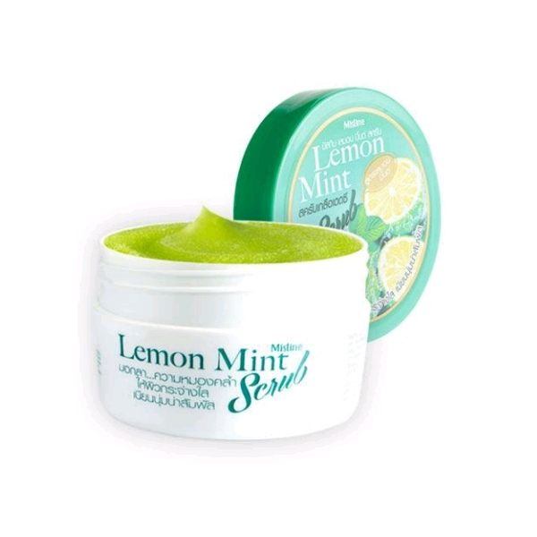 Mistine Lemon Mint Scrub สครับมิสทีน เลมอน มินต์ สครับเกลือเดดซีสูตรเลมอนมินต์ ปรนนิบัติผิวเป็นพิเศษด้วยเกลือจากทะเลสาบเดดซีที่ช่วยผลัดเซลล์ผิวเก่า ช่วยบำรุงให้ผิวแลดูกระจ่างใสอย่างเป็นธรรมชาติ