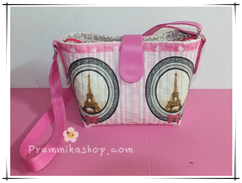 กระเป๋าพลาสติกสาน รุ่นสะพายสวยเท่ห์ (สายหนัง)