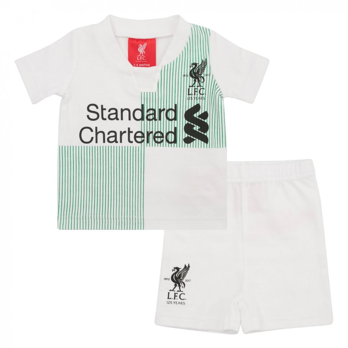 เสื้อกางเกงลิเวอร์พูล 125 ปีเด็กอ่อนฤดูกาล 2017 2018 ของแท้ Away Tee and Short Set 17/18