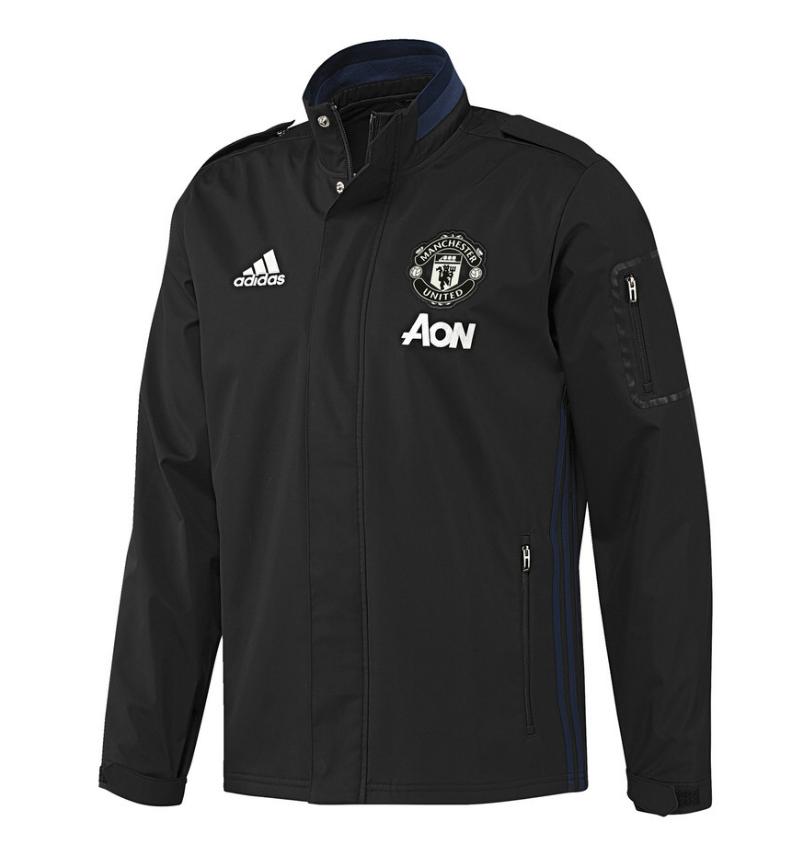 เสื้ออดิดาสแมนเชสเตอร์ ยูไนเต็ด เสื้อแจ็คเก็ตเทรเวลสีดำของแท้