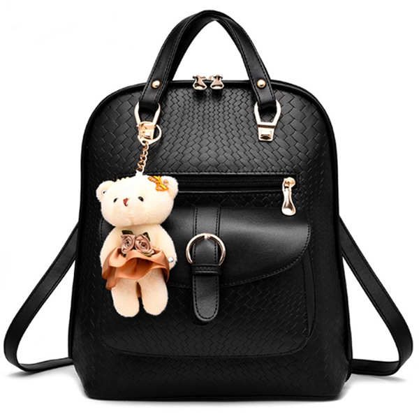 [ ลดราคา ] - กระเป๋าเป้แฟชั่น นำเข้าสไตล์เกาหลี สีดำคลาสสิค แต่งหัวเข็มขัดช่องใส่ของด้านหน้า ดีไซน์สวยเก๋ ที่สาวๆ ไม่ควรพลาด