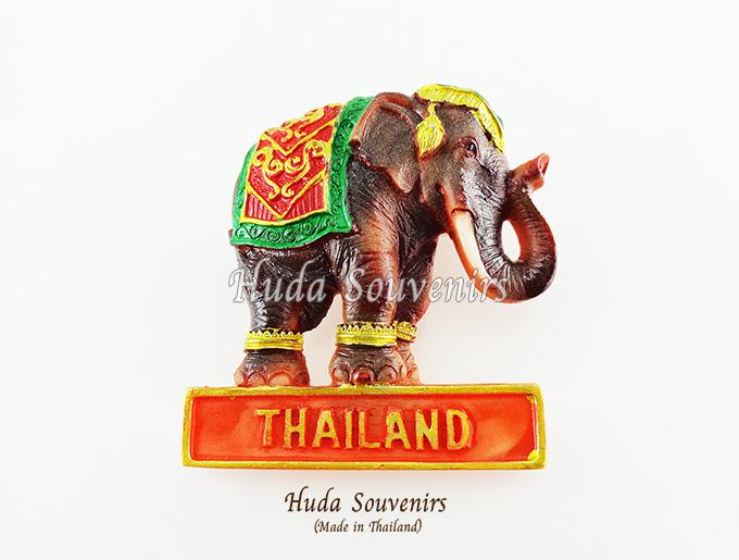 Magnet แม่เหล็กติดตู้เย็น วัสดุเรซิ่น ลายไทย ลวดลายช้างไทย ปั้มลายเนื้อนูน ลงสีสวยงาม สินค้าพร้อมส่ง