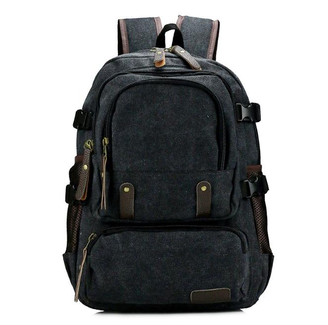 [ พร้อมส่ง ] - กระเป๋าเป้ ผู้ชาย-หญิง ดีไซน์เก๋เท่ ๆ สีดำ ใบใหญ่จุใจ ช่องใส่ของเยอะมากๆ ใส่ หนังสือ และ I-Pad ได้ เหมาะสำหรับพกพา เดินทางท่องเที่ยว