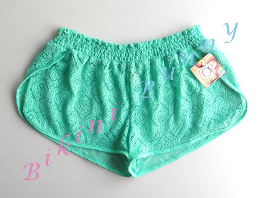 Sale รหัส sh546 (Size M สะโพก 37-39 นิ้ว) กางเกงโครเชต์ลายฉลุสีเขียวพาสเทล เนื้อผ้าซีทรู ใส่ลงน้ำได้ --> Op