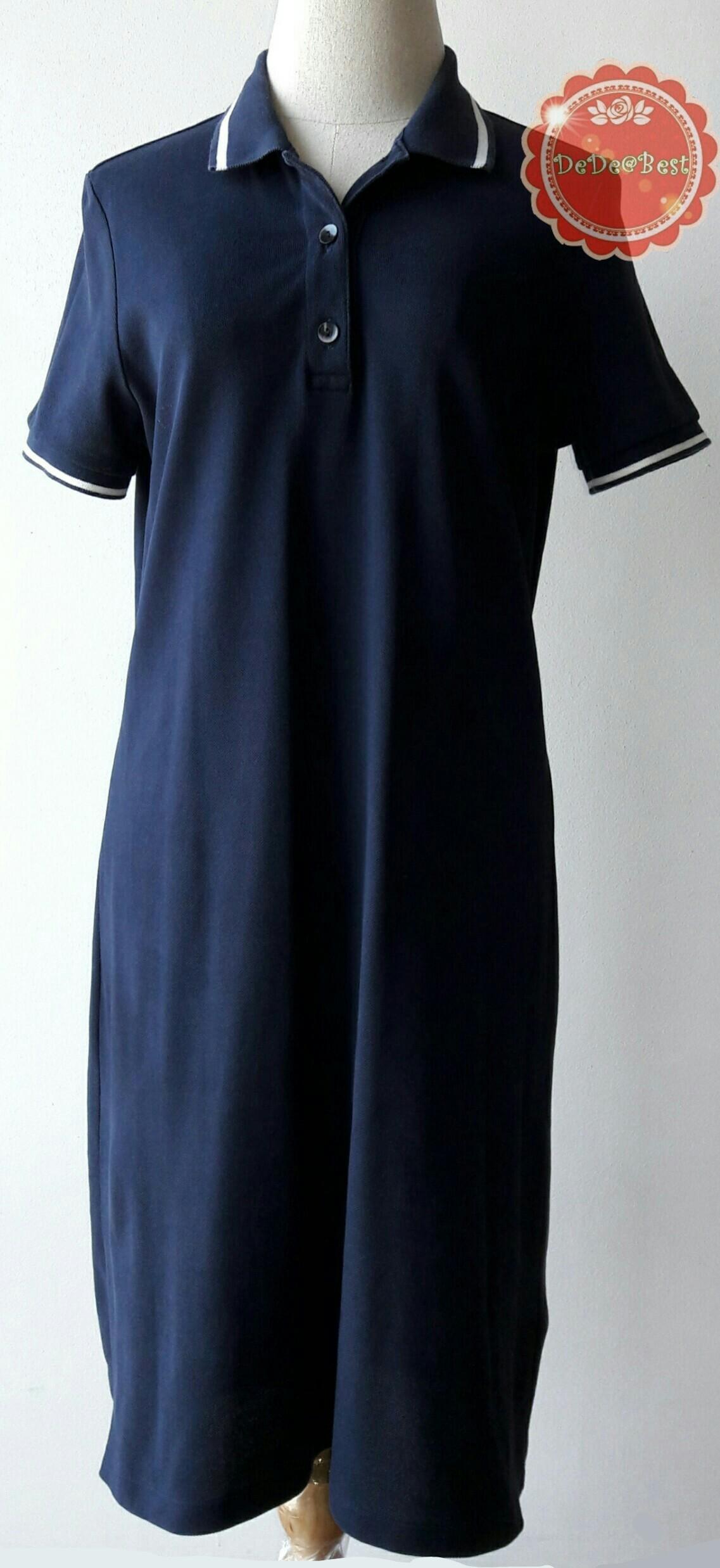 D65:2nd hand dress เดรสสีน้ำเงิน คอปก