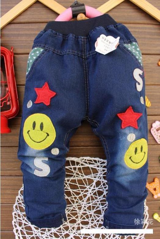 กางเกงยีนส์ ลายอมยิ้ม (ผ้ายีนส์เนื้อนิ่ม+ผ้าดีค่ะ)