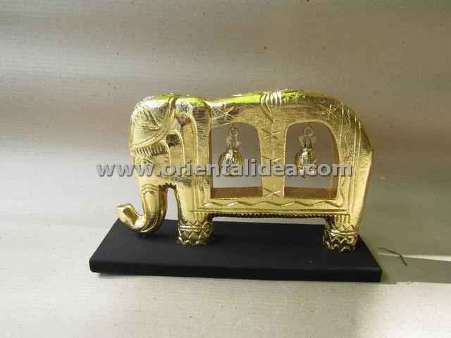 ช้างคู่กระดิ่งทองเหลือง N-006