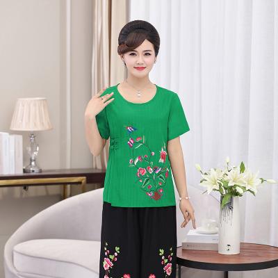 ชุดเซ็ท2ชิ้น เสื้อผ้าวัยกลางคนวัย 40-50-60 ผ้าลินินพิมพ์ลายในตัว แขนสั้น สีส้ม/สีเขียว/สีแดง/สีฟ้า/สีเขียวใบตอง/สีชมพูกุหลาบ (XL,2XL,3XL,4XL) MA40703