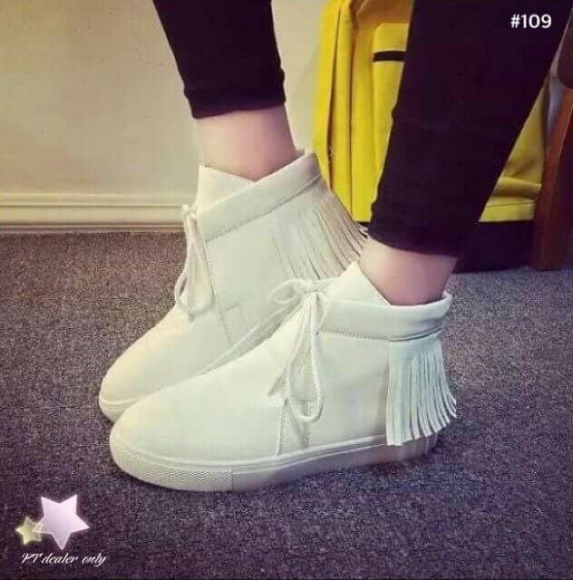 รองเท้าผ้าใบหุ้มข้อ งาน ash style วัสดุทำจากหน้งpu