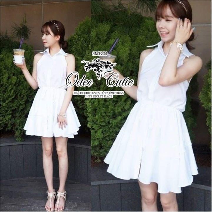 푸싱데이지 Pure white lily mini dress