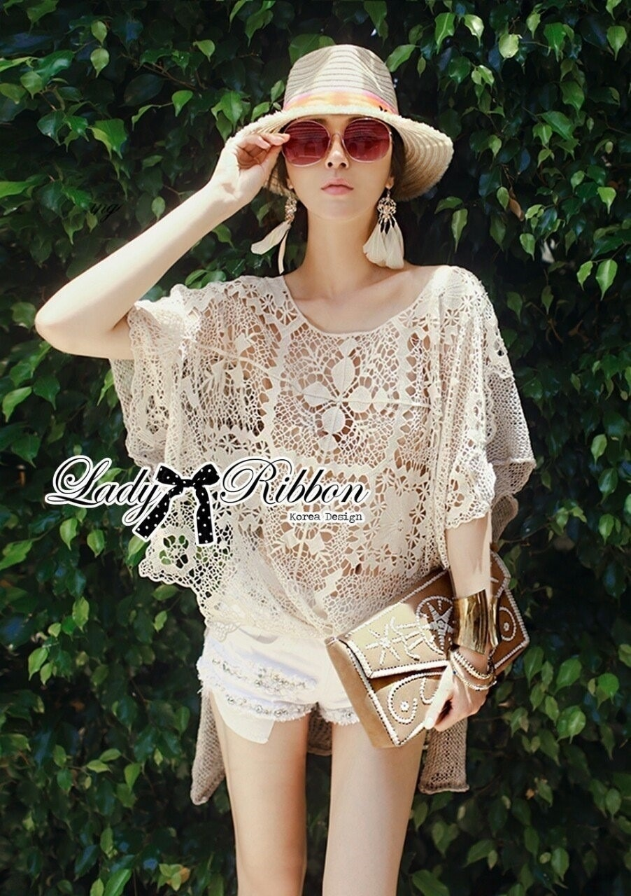 Lady Ribbon's Made Lady Amanda See-Through Embroidered Knit Lace Blouse