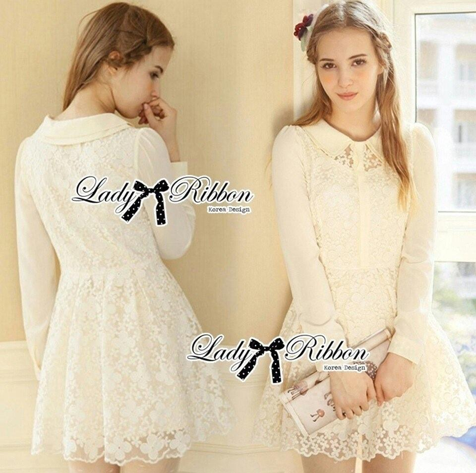 Lady Ribbon's Made Lady Poppy Sweet Delicate Embroidered Organza Shirt Dress