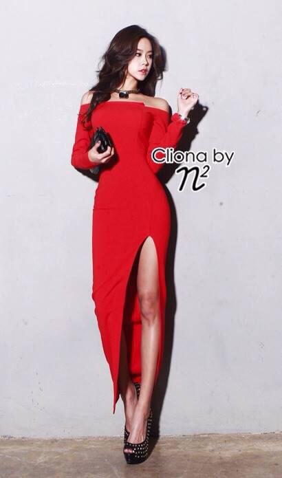 Cliona made' Luxury Simplicity Open Shoulder Open Legs Maxi Dress