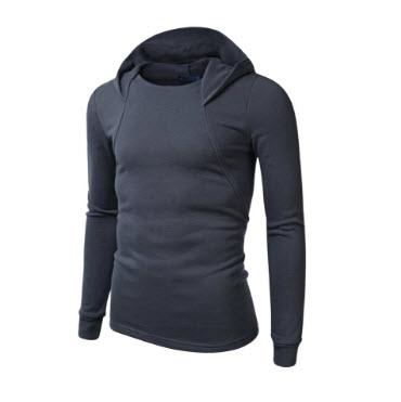 พร้อมส่ง เสื้อกันหนาว สีเทาเข้ม มีฮู้ด แขนจั๊ม แขนยาว ใส่ทับด้วยโค้ท หรือใส่เดี่ยวก็เท่ห์ และอุ่น แมทซ์กับเสื้อผ้าได้ง่าย
