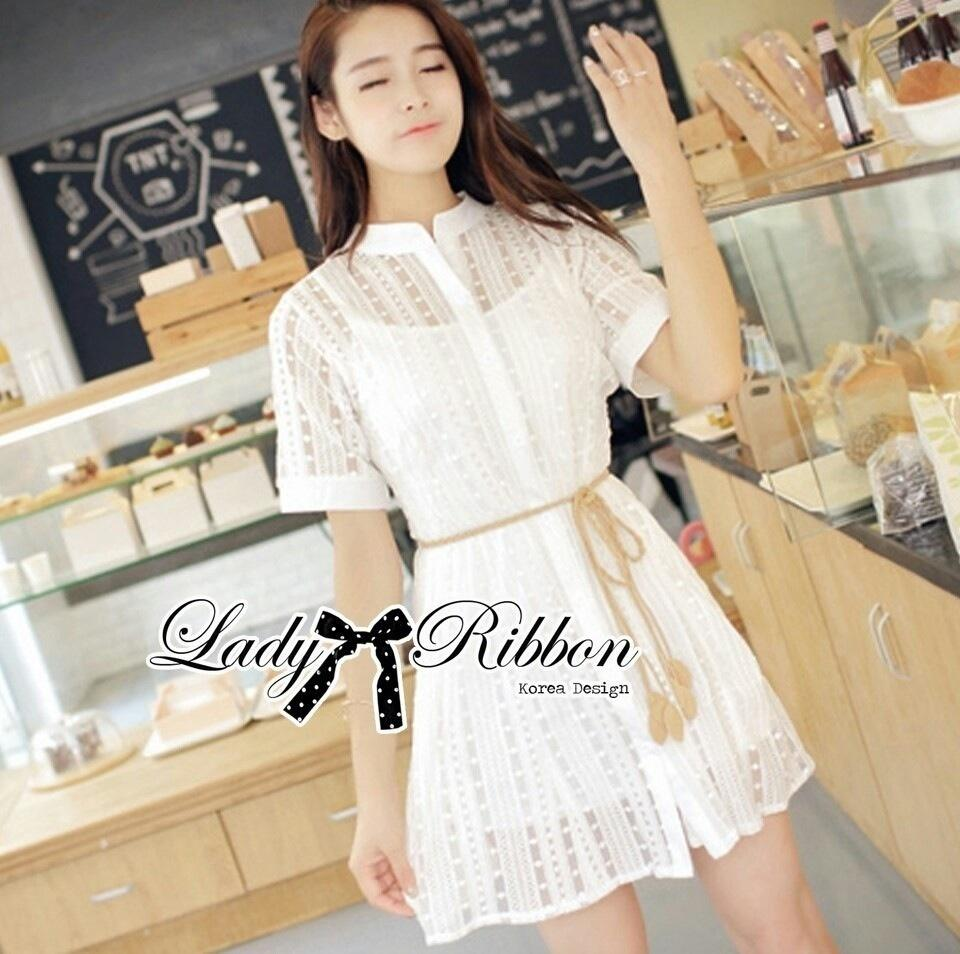Lady Ribbon's Made Lady Jennifer Sweet Button Down Organza Lace Dress