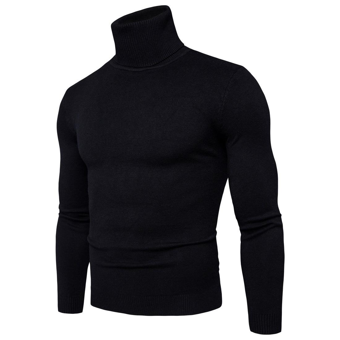พร้อมส่ง เสื้อไหมพรมผู้ชาย สีดำ คอเต่า แขนยาว สเวตเตอร์ผู้ชาย แฟชั่นหน้าหนาว