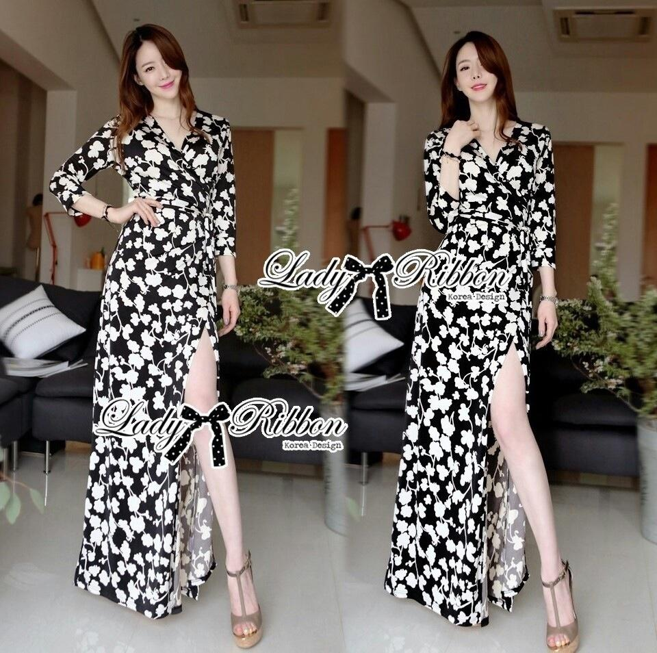 Lady Ribbon's Made Lady Anna Sophisticated Black and White Daisy Wrap Maxi Dress