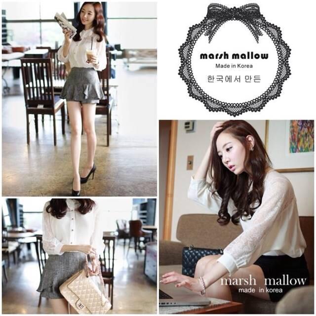 Marsh mallow's Made See-through white lace chiffon shirt