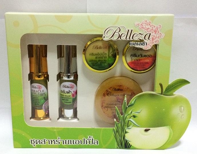 Belleza Spirulina Apple Whitening Set ชุดครีมสาหร่ายแอ๊ปเปิ้ล รักษาฝ้า-กระหน้า