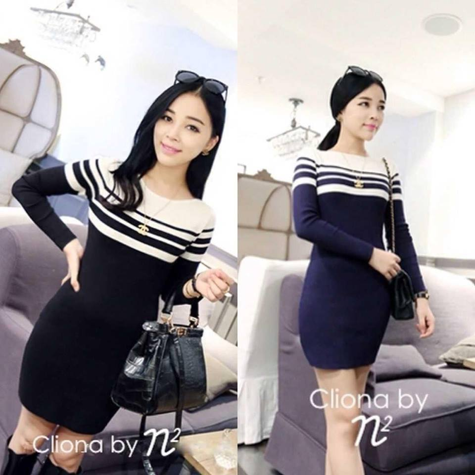 Long Sleeve Double Strip Line Dress