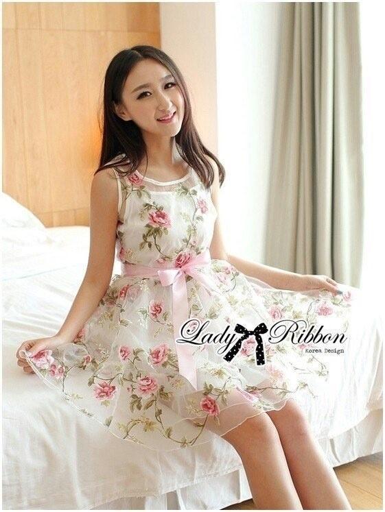 Lady Ribbon's Made Lady Ribbon Sweet Rose Organdy Mini dress