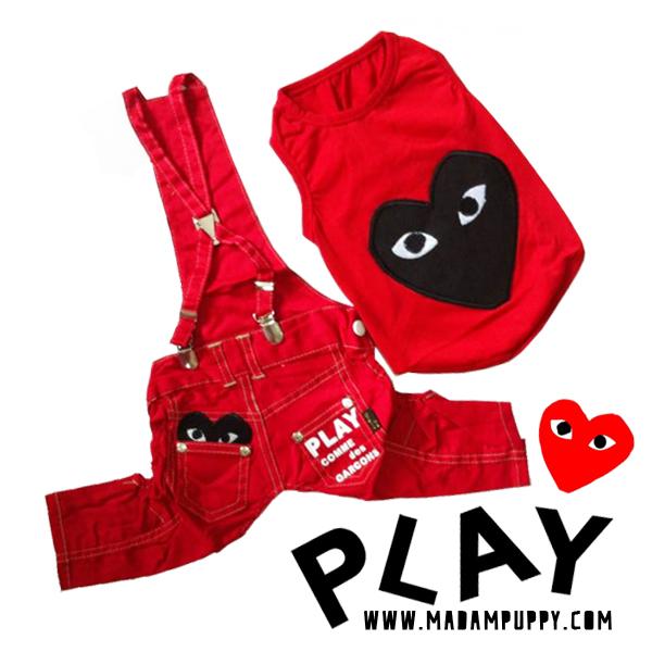 เสื้อหมา ชุดเอี๊ยมหมา PLAY สีแดง พร้อมส่ง