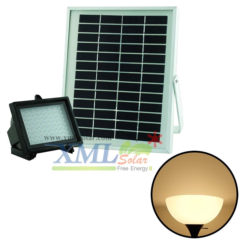 ไฟสปอตไลท์โซล่าเซลล์ 64 LED (เเสง : เหลืองวอมไวท์)