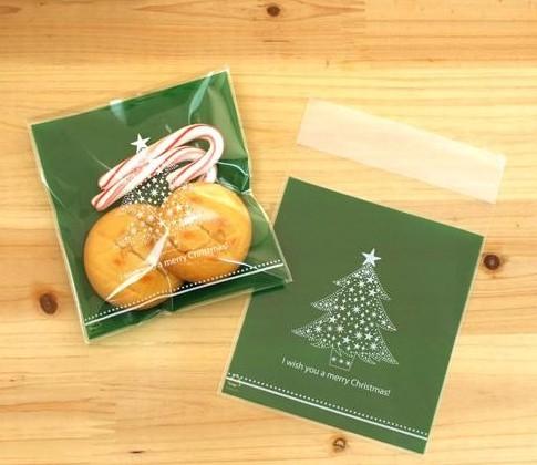 ถุงเบเกอรี่ ถุงขนมปัง แบบมีเทปกาว สีเขียว 100 ใบ/ห่อ (10*10+3 cm.)