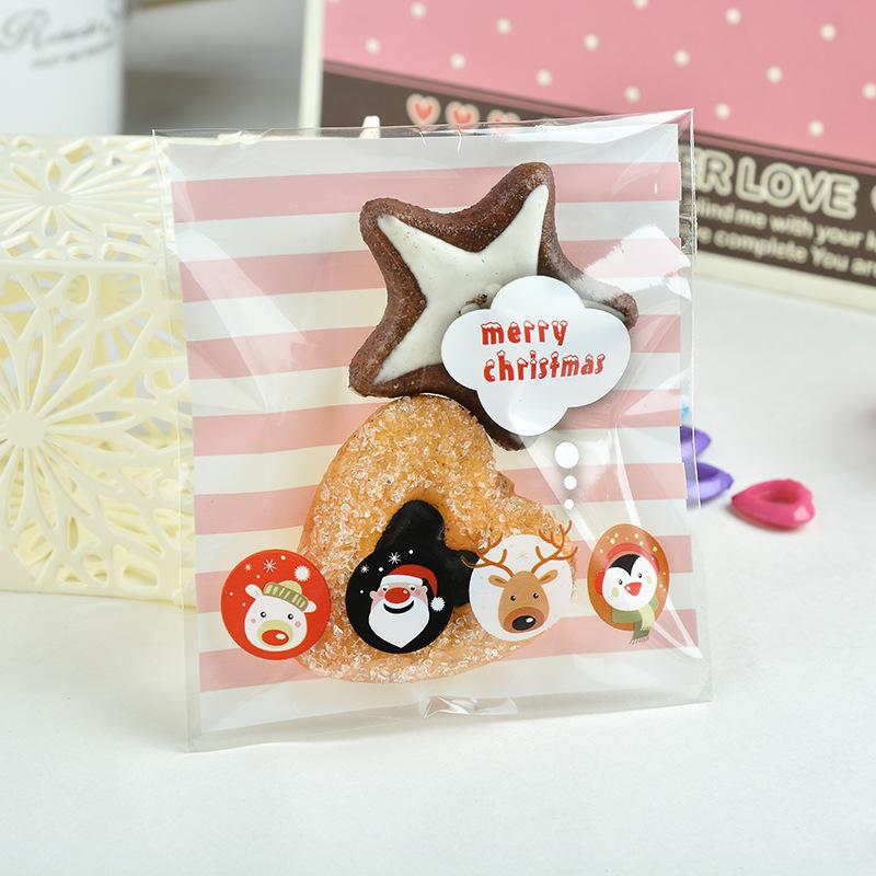 ถุงเบเกอรี่ ถุงขนมปัง แบบมีเทปกาว merry christmas 100 ใบ/ห่อ (10*10+3 cm.)