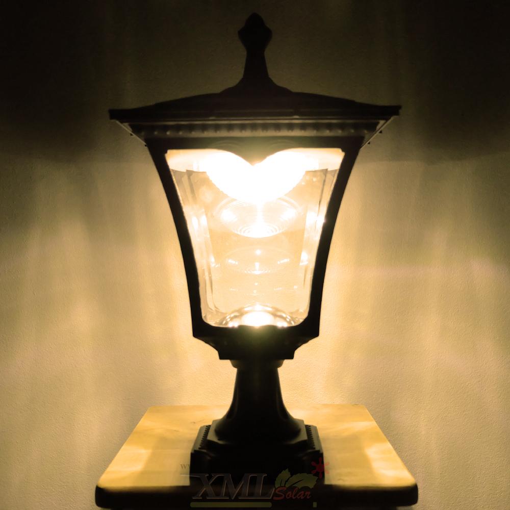 โคมไฟหัวเสาโซล่าเซลล์ ทรง Classic สีดำ (ชุดใหญ่) เเบบที่ 2 (เเสง : เหลืองวอมไวท์)