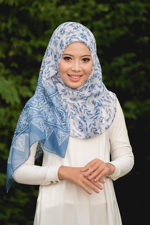 ผ้าคลุม อิสลาม วิสคอส viscose พิมพ์ลาย HJ07016-1