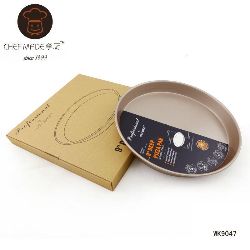 Chef Made แม่พิมพ์พิซซ่า เทฟล่อน สีทอง 9 นิ้ว