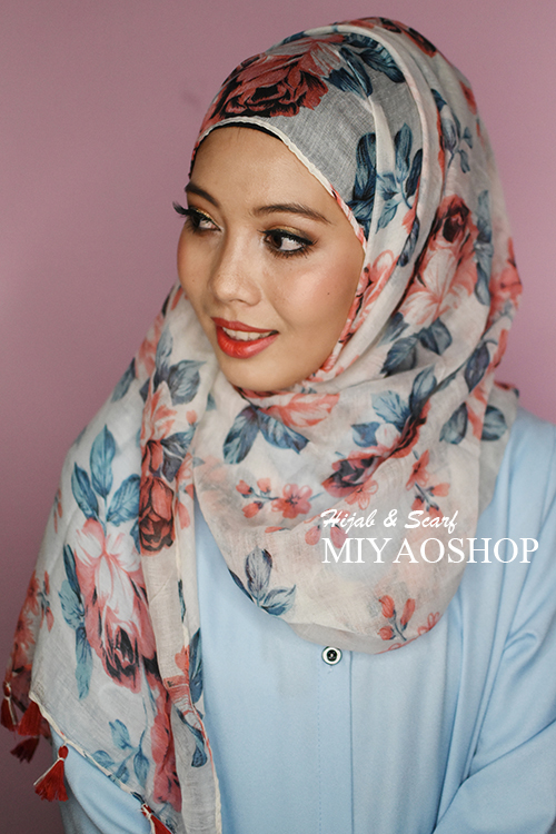 ผ้าคลุม อิสลาม วิสคอส viscose พิมพ์ลาย ดอกไม้ โทนแดง HJ07005