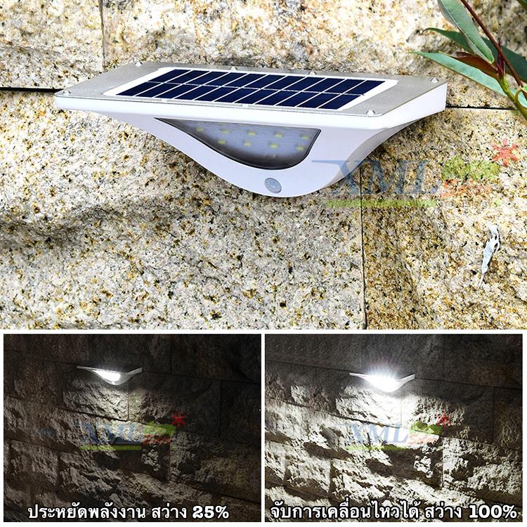 โคมไฟโซล่าเซลล์ ติดผนัง 16 SMD LED + Motion (ทรง Modern ตัวใหญ่) (เเสง : ขาว)