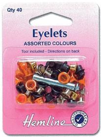 ตาไก่ พร้อมอุปกรณ์ตอก Eyelet: Assorted Colours: 5mm(small)